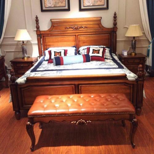 现代实木双人床  美式风格深色双人床 主卧双人床_16