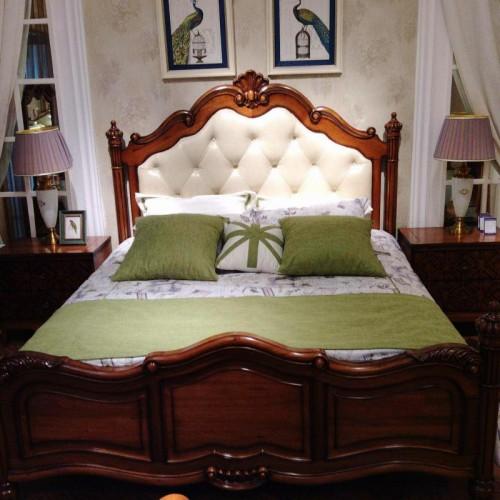 现代美式双人床  实木白色软包床头双人床_17