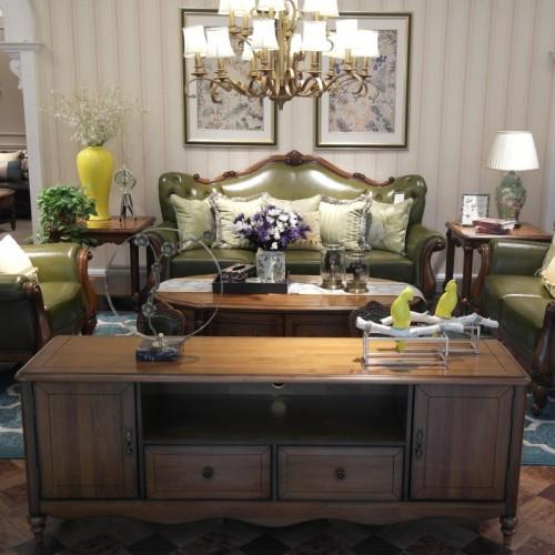 时尚美式客厅沙发软皮沙发1+2+3 实木核桃楸木软皮客厅沙发_ 9601#