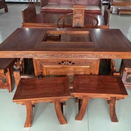 实木茶桌椅组合中式仿古茶台01