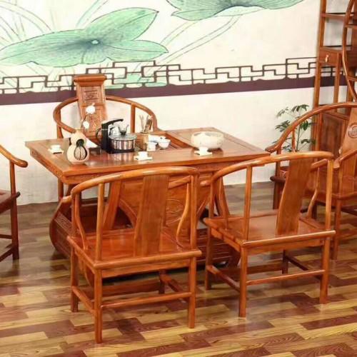 实木茶桌椅组合现代简约中式仿古茶台05