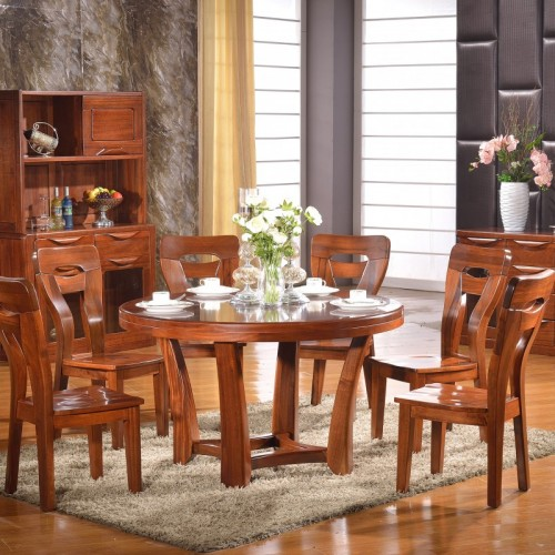 餐厅实木圆餐桌餐边柜酒柜  现代中式圆餐桌餐边柜酒柜_603+