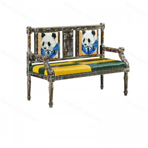 美式双人椅复古咖啡厅卡座沙发I-002