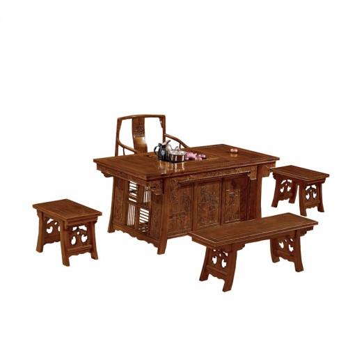 中式茶道桌椅组合仿古将军茶台E-011