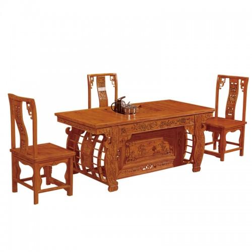 仿古实木功夫创意茶台茶桌椅E-001