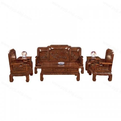 中式榆木雕花沙发组合D-046