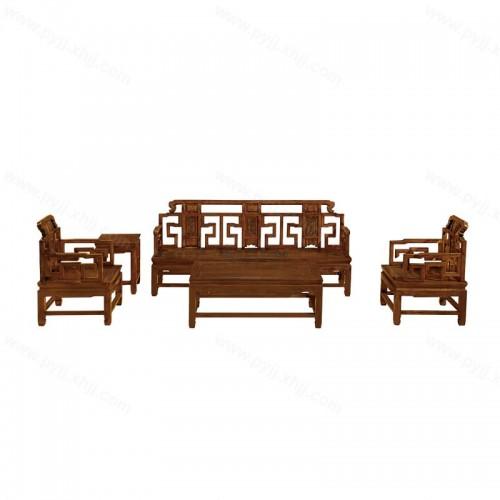 中式榆木简约沙发组合D-045