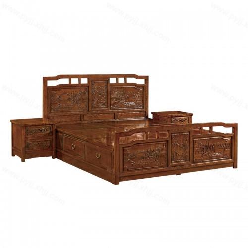 中式榆木双人床仿古雕花床D-011