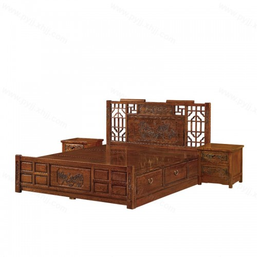 榆木双人大床实木箱体床带抽屉储物床 D-004