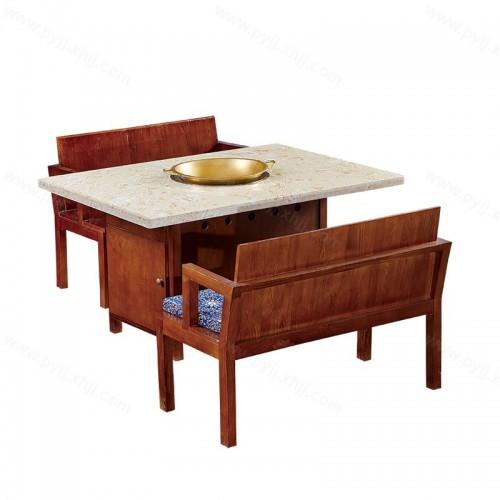 实木火锅桌电磁炉一体组合桌椅B-013