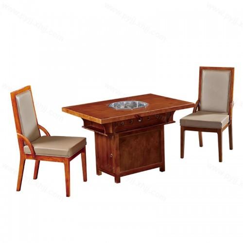 中式实木火锅桌椅组合电磁炉一体B-011
