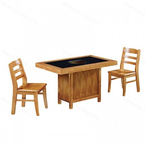 实木双人位火锅桌椅组合电磁炉一体B-010