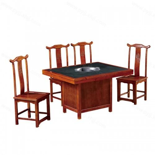 实木镶理石箱体火锅桌椅B-010