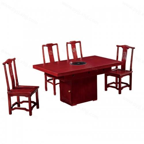 火锅桌实木电磁炉桌椅组合B-009