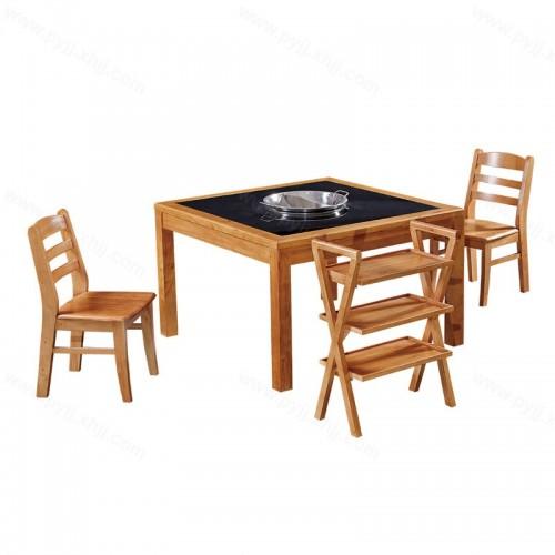 现代方形火锅桌电磁炉桌椅组合B-004