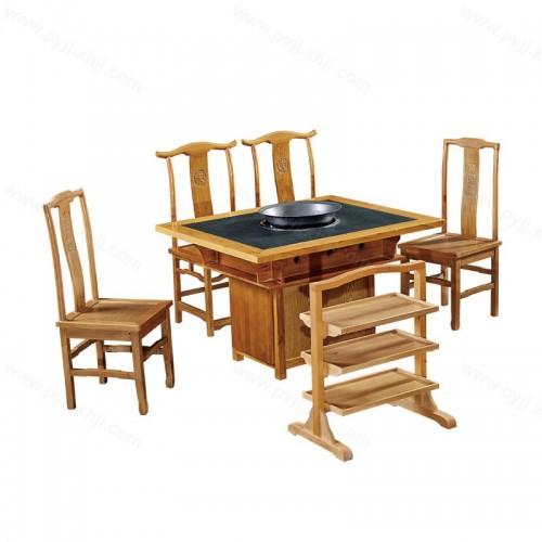 实木火锅桌椅镶嵌大理石火烧石中式火锅桌B-001