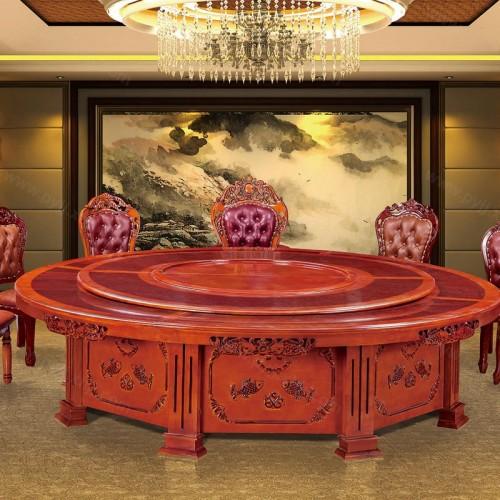 酒店实木大圆桌餐桌椅组合A-014
