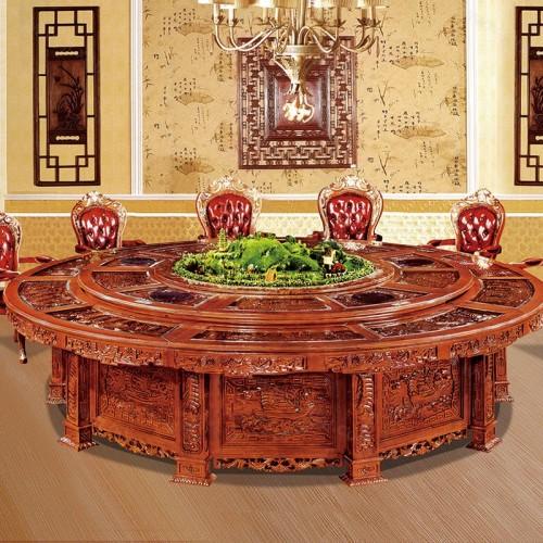 豪华酒店实木雕刻餐桌电动餐桌椅A-008