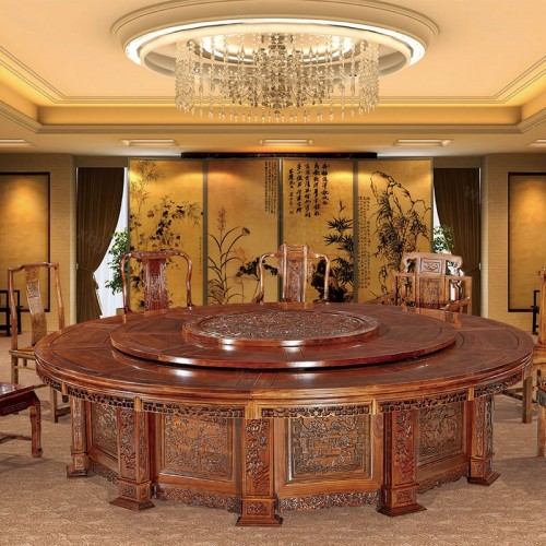豪华实木圆桌酒店电动转盘大圆桌A-003