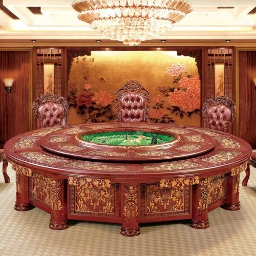 酒店豪华电动餐桌自动旋转大圆桌A-002