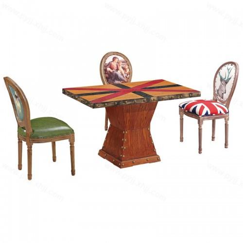 复古美式主题餐厅餐桌椅组合H-015