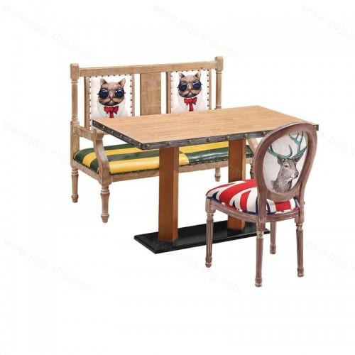 时尚美式主题餐厅餐桌椅组合H-014