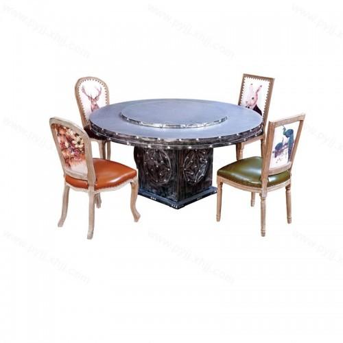 美式复古主题餐厅圆形桌椅组合H-005