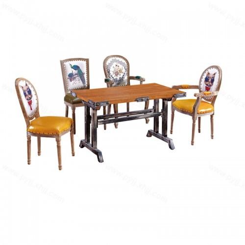 美式复古时尚主题餐厅桌椅组合H-003
