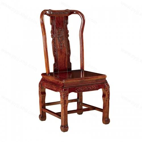 实木雕花仿古做旧中式酒店靠背餐椅C-104