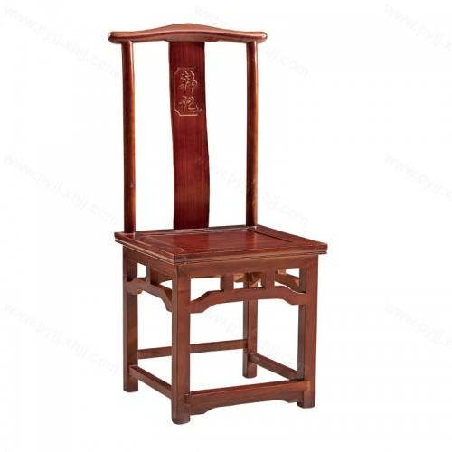实木雕花仿古做旧中式酒店靠背餐椅C-103