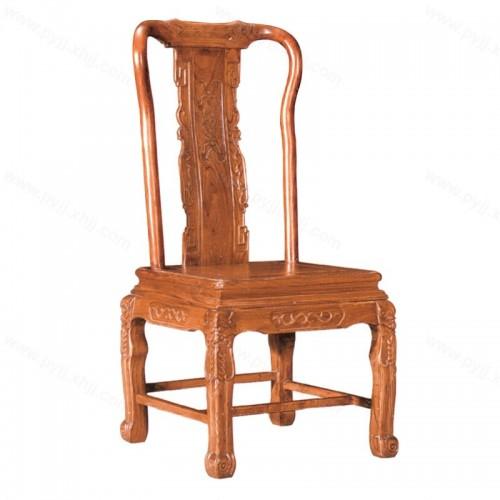 中式实木椅酒店仿古雕花靠背餐椅C-101