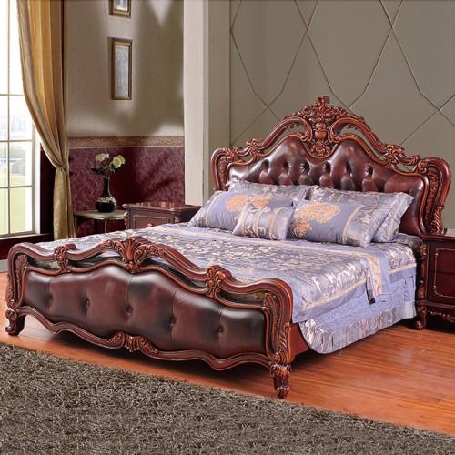 实木欧式床真皮双人床