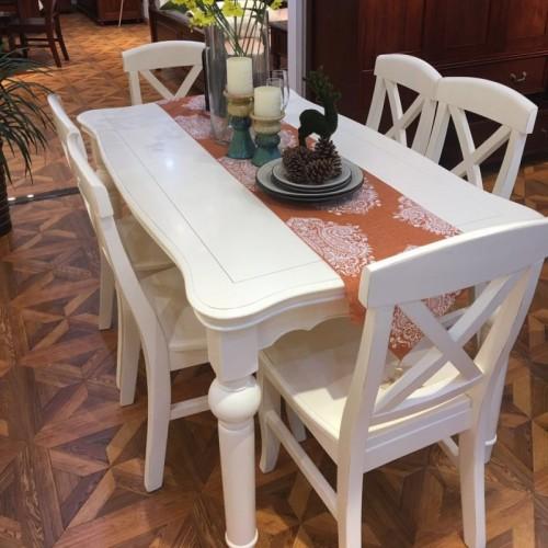 现代美式白色实木餐桌
