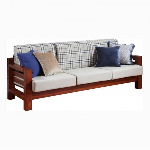 实木布艺三人位沙发