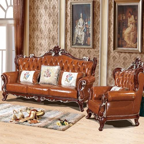 欧式实木真皮沙发组合
