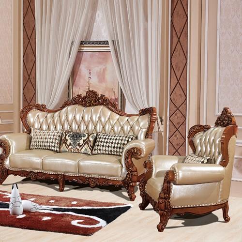 实木雕花欧式真皮沙发