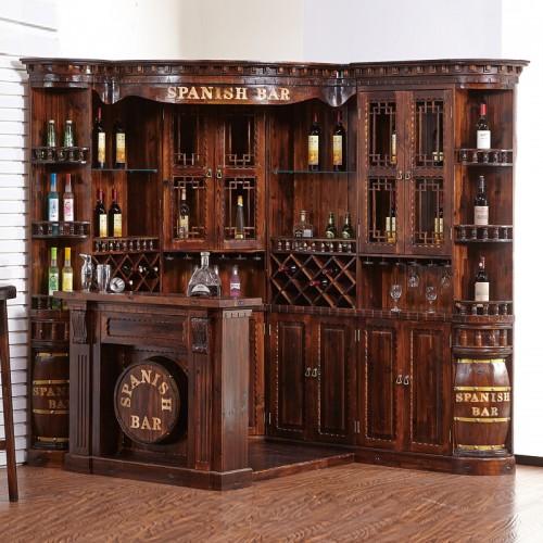实木仿古碳化防腐木中吧台 BT-1转角吧台红酒柜