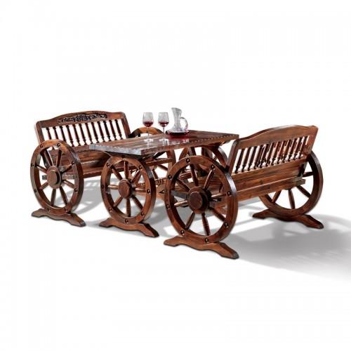 户外防腐木桌椅双人车轮桌椅饭店里用的组装长桌实木烧烤火锅
