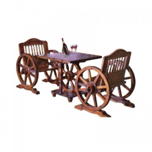碳化木车轮椅单人车轮桌椅BLS-11