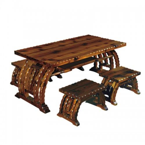 碳化防腐木古典咖啡桌BLS-12