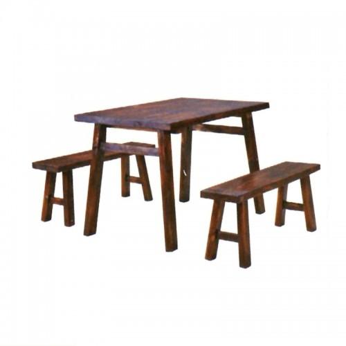 碳化实木户外整体桌椅BLS-14