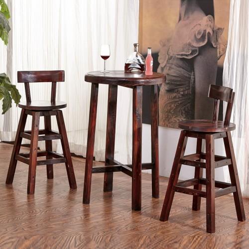 高吧凳子酒吧里用的,家用炭烧木餐桌圆吧桌高桌子碳化木实木