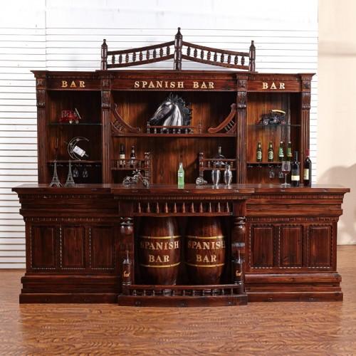 饭店组合仿古欧式酒吧大吧台前台收银台酒柜碳化木防腐木实木个性