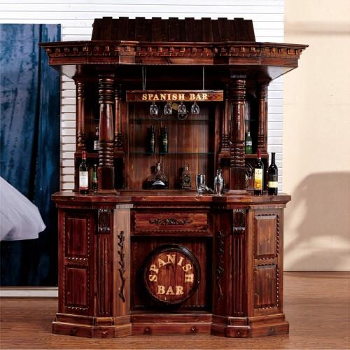 碳化木吧台实木酒柜酒