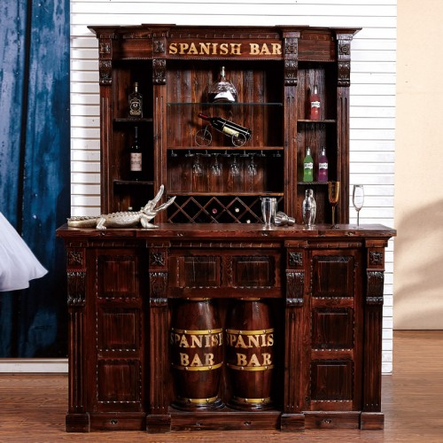 仿古欧式酒吧中吧台BT-4收银台酒柜碳化木红酒架