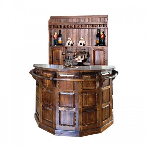仿古圆吧台桌碳化防腐酒吧台BT-5红酒柜酒架前台