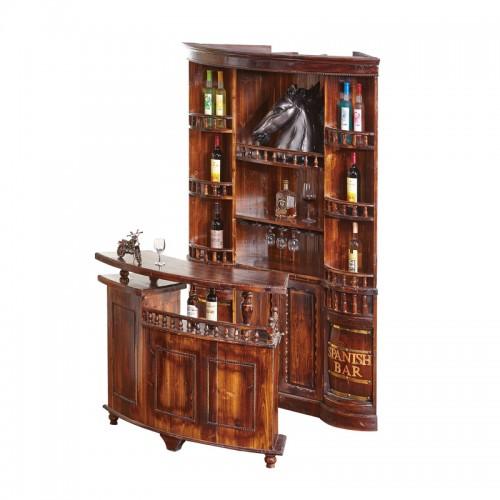 红酒展示柜角柜碳化木仿古隔断角吧台BT-6个性收银台