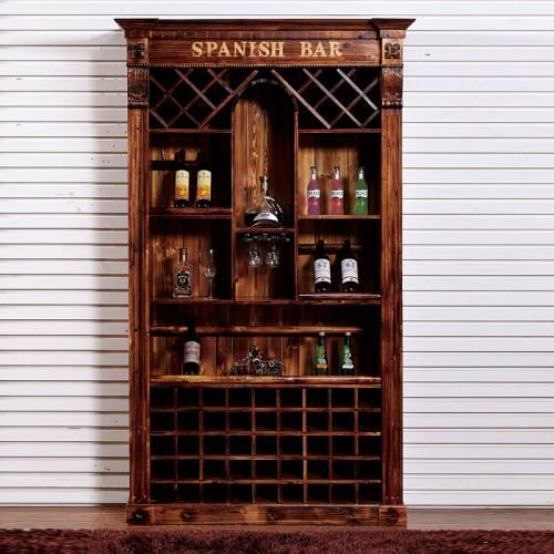 碳化木酒柜红酒展示柜JG-9酒架吧台实木碳化木