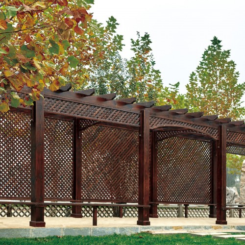 香河布卢斯实木图片价格防腐木葡萄架户外碳化木长廊CL-1