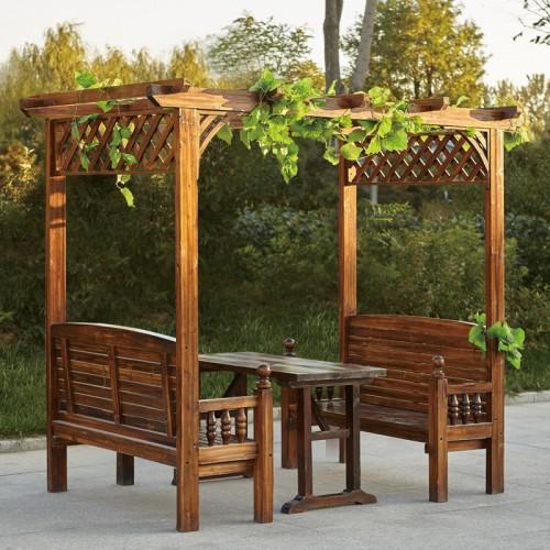 户外庭院实木碳化凉亭休闲亭BLS-23长廊廊架葡萄架